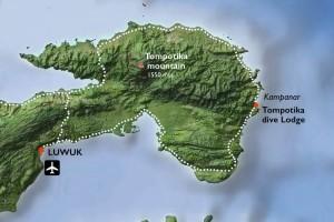Tompotika Dive Lodge Karte