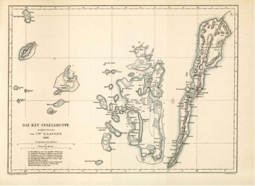 Frühe Karte der Kei Inseln um 1880