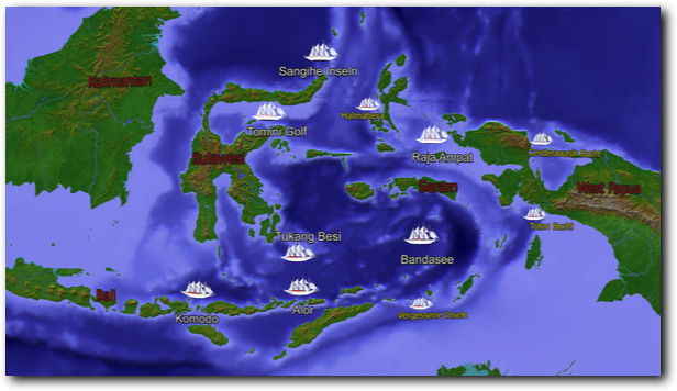 Map: Liveaboard Diving Trips in Indonesien
